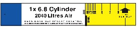 6.8 Litre 300 Bar Cylinder BA Control Board Slide Calculator
